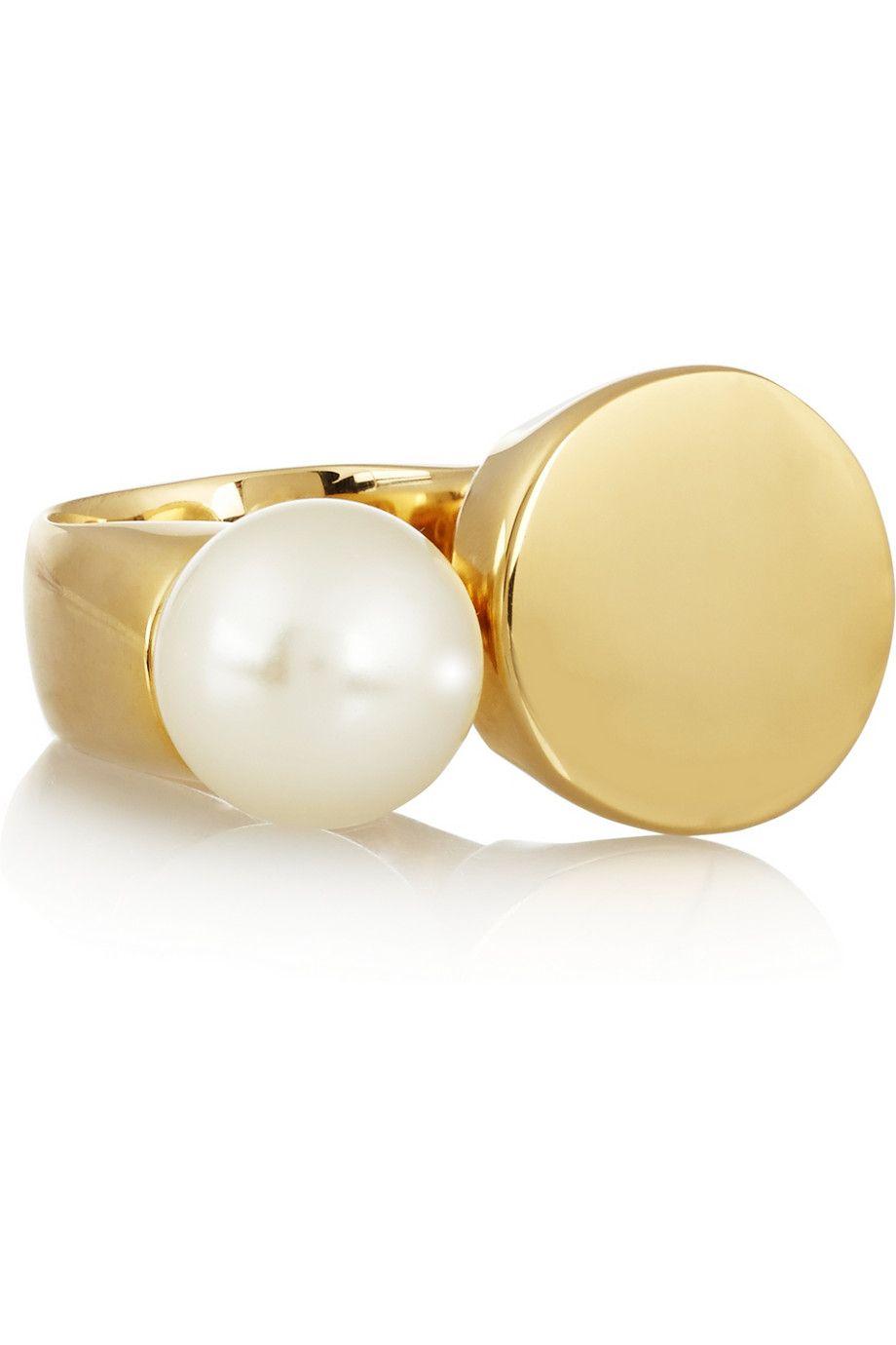 Chloé – Darcey gold-tone Swarovski pearl ring