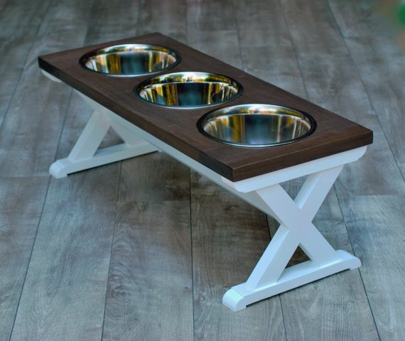 10 Tall Large Dog Bowl Stand With 3 Bowls Custom Colors
