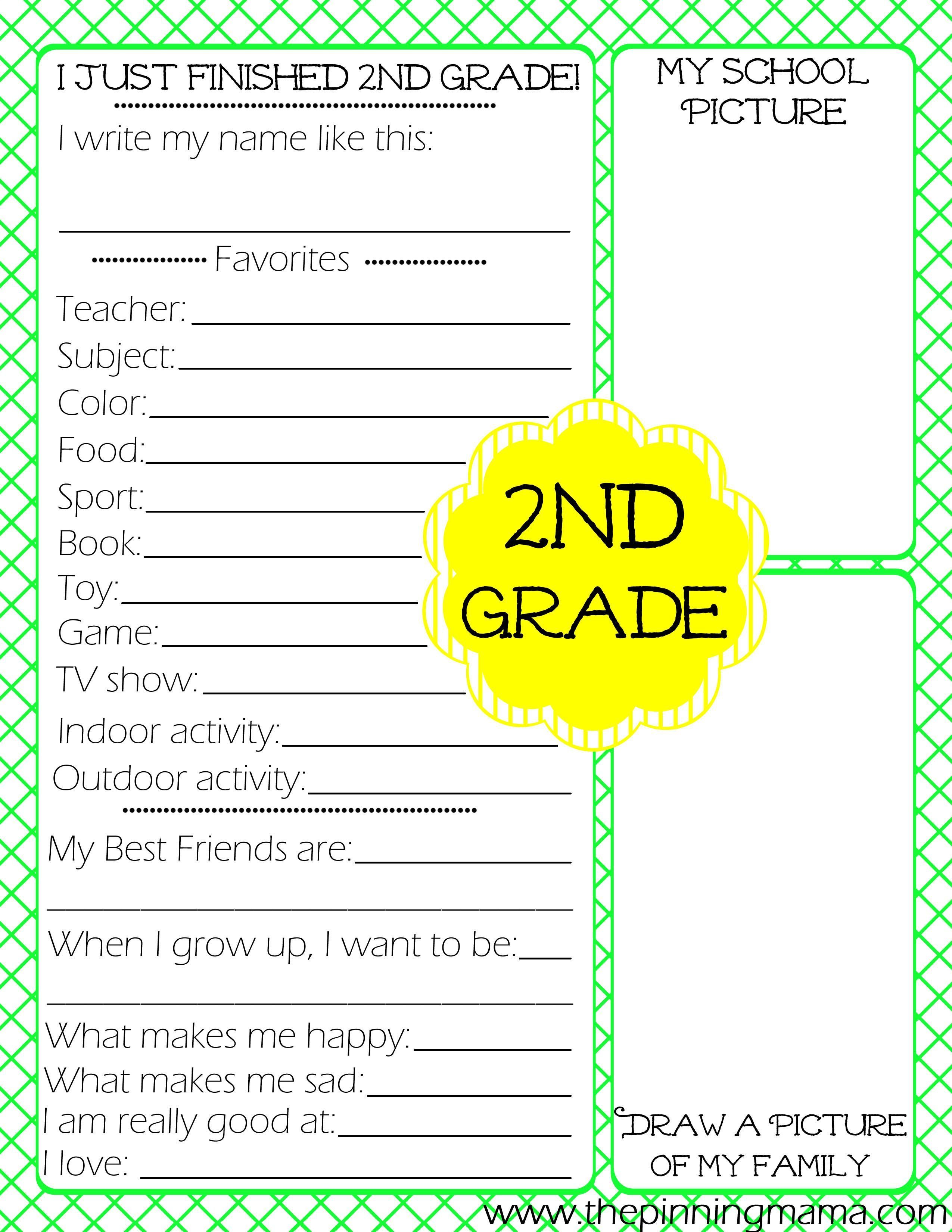 School Worksheets End Of The School Year Worksheets For 2nd Grade 12