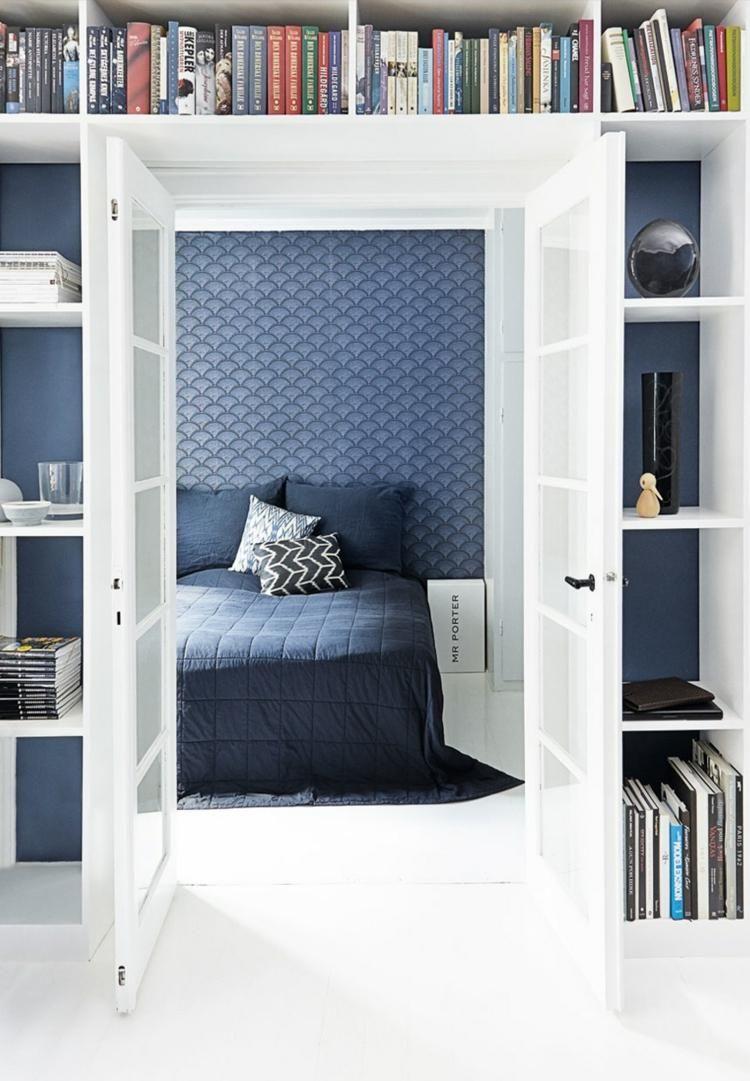 Tapeten in taubenblau mit geometrischem muster im schlafzimmer dunkelblau - Dunkelblau wandfarbe ...