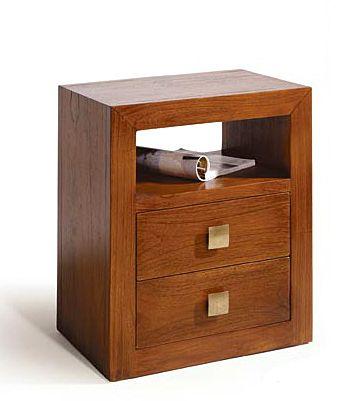 Mesa de noche sunkai 2 cajones material madera de teca for Mesas de noche de madera
