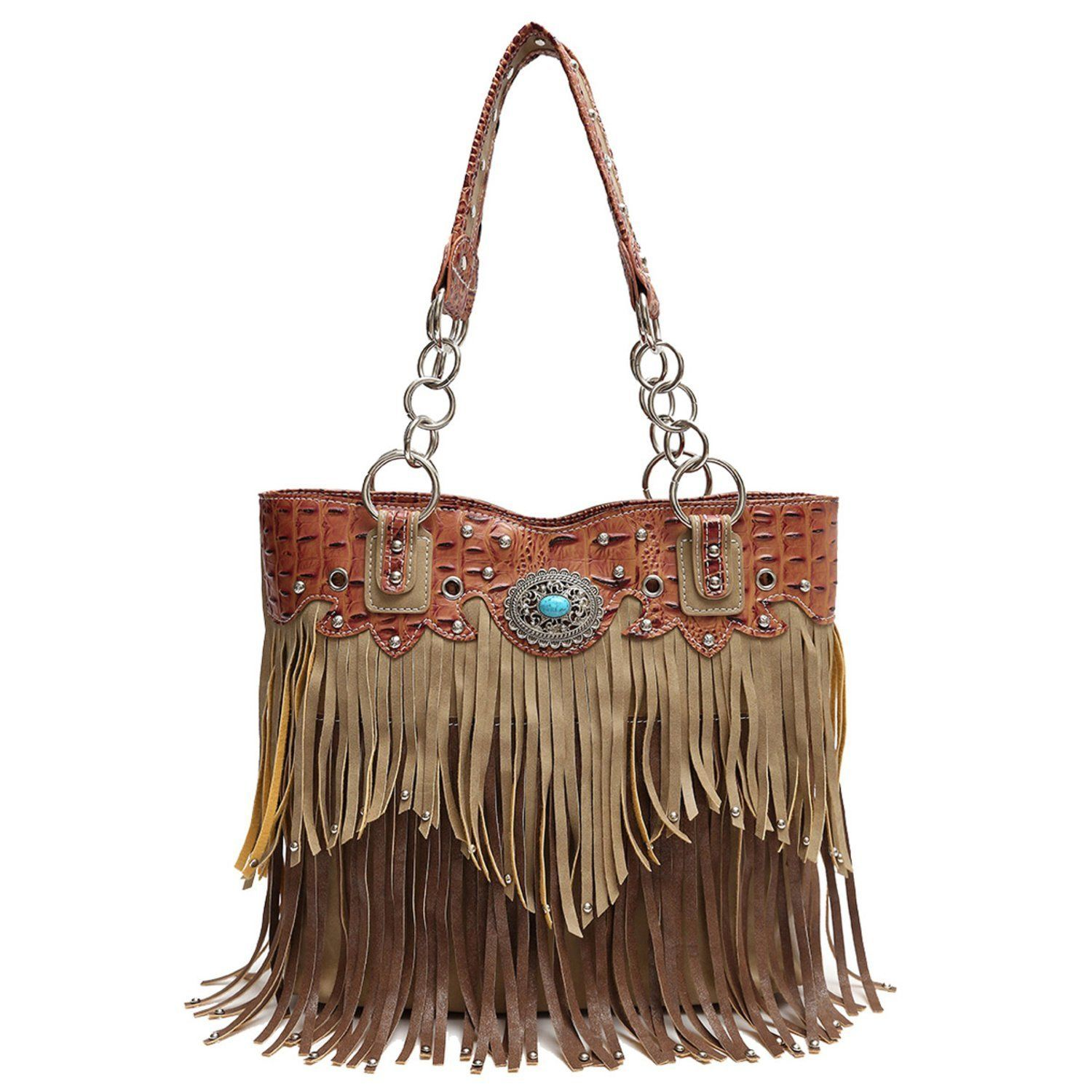 Cowgirl Trendy Western Fringe Tote Handbag Concealed Carry Purse