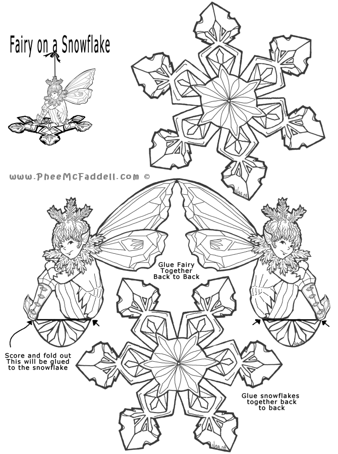 fairy snowflake ornament holiday decor snowflakes paper dolls paper crafts. Black Bedroom Furniture Sets. Home Design Ideas