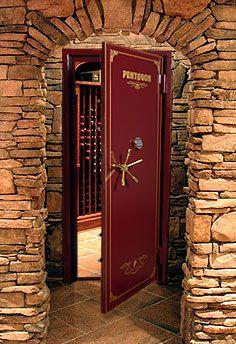"""Wine cellar """"Vault"""" Door. Love this. Very cool."""