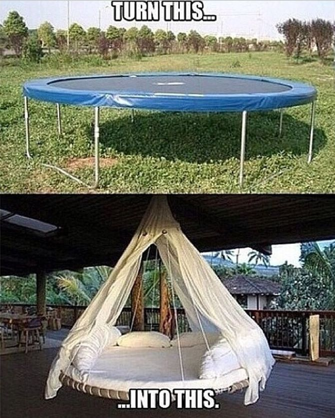 Top trampoline hacks to make your backyard awesome for Trampoline porch swing