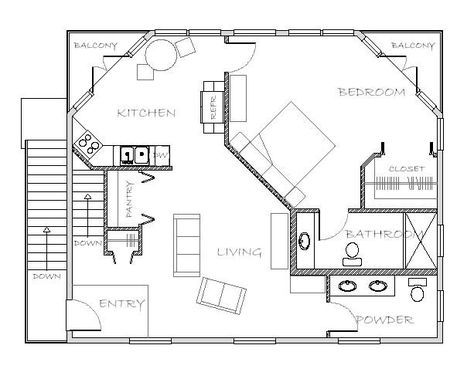 Mother-in-Law Apartment Plan ~ Great pin! For Oahu architectural