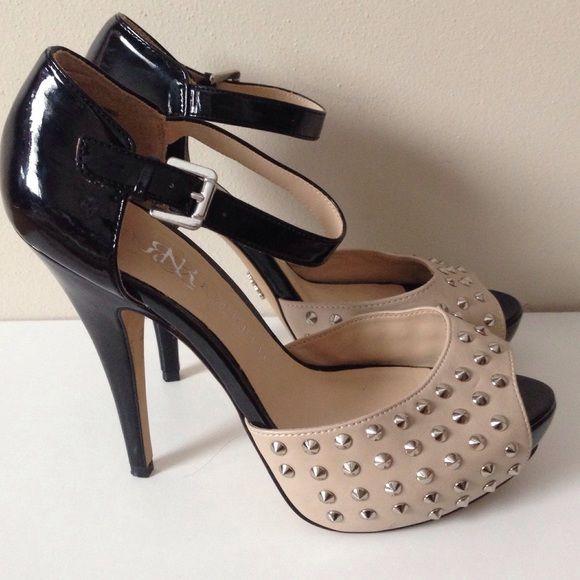 "Rock & Republic Tan/Black Heels Sz 7 Rock & Republic sexy heels.  Open toe.  4"" stiletto heel.  Tan and black with silver spikes.  Size 7.  Excellent Condition! Rock & Republic Shoes Heels"