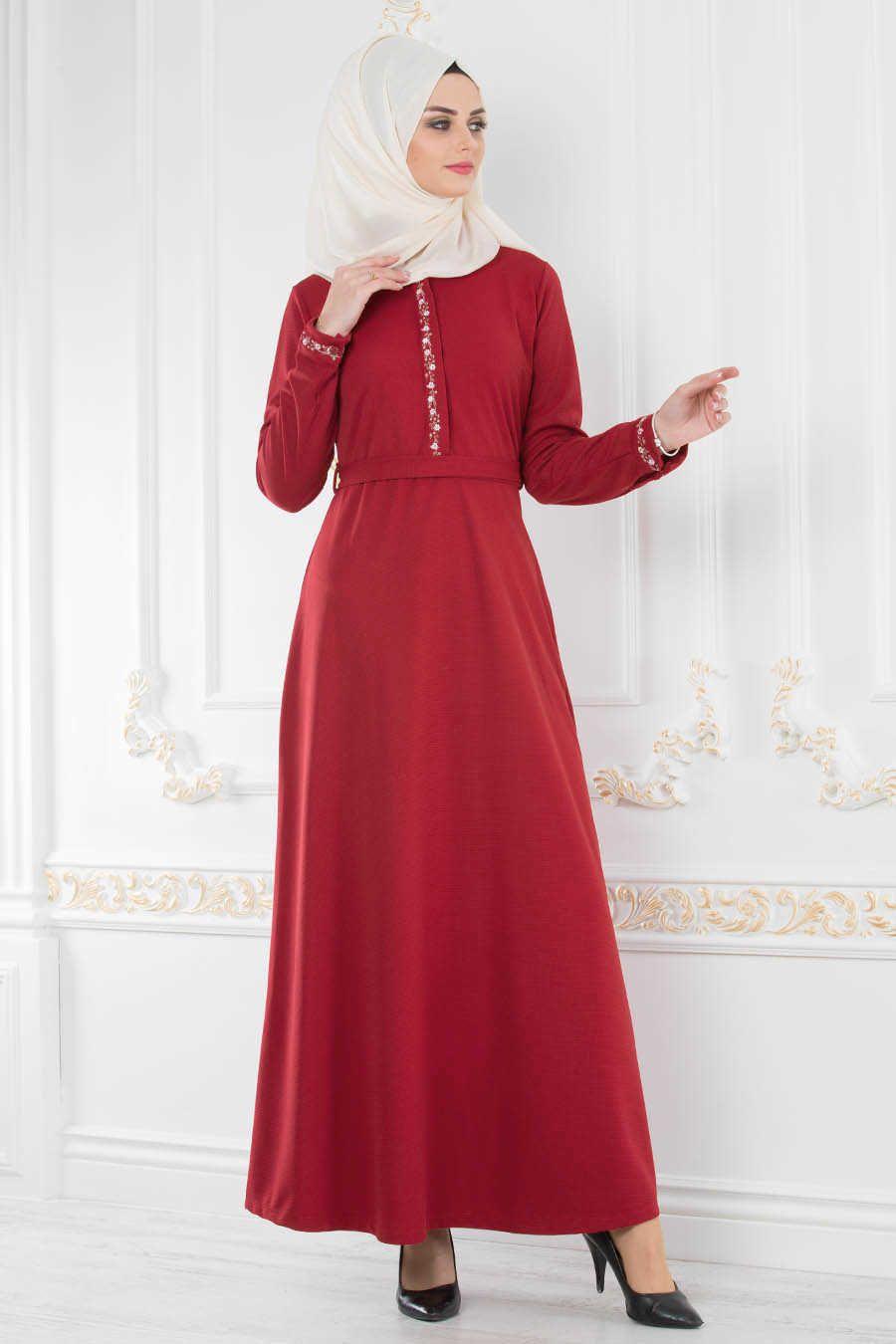 Kemerli Kirmizi Tesettur Elbise 8219k Neva Style Com Daily Dress Muslimah Fashion Muslim Fashion