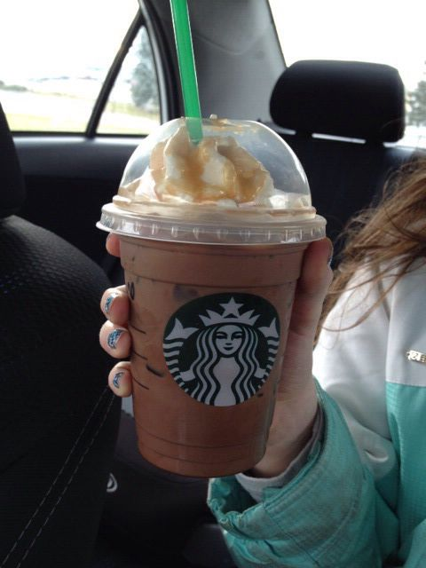 Iced salted Caramel mocha that I got from Starbucks. IT WAS SO AMAZING!