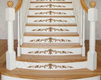 Vinyl Stair Decals   Damask Decal Scroll For Staircase Riser Decor    Stairway Sticker Decal