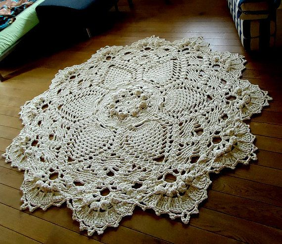 Ecru Giant Crochet Doily Rug Floor Wedding Large Area Round
