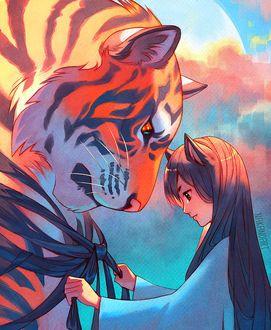 Фото Девушка с ушками стоит рядом с тигром, by nakanoart ...