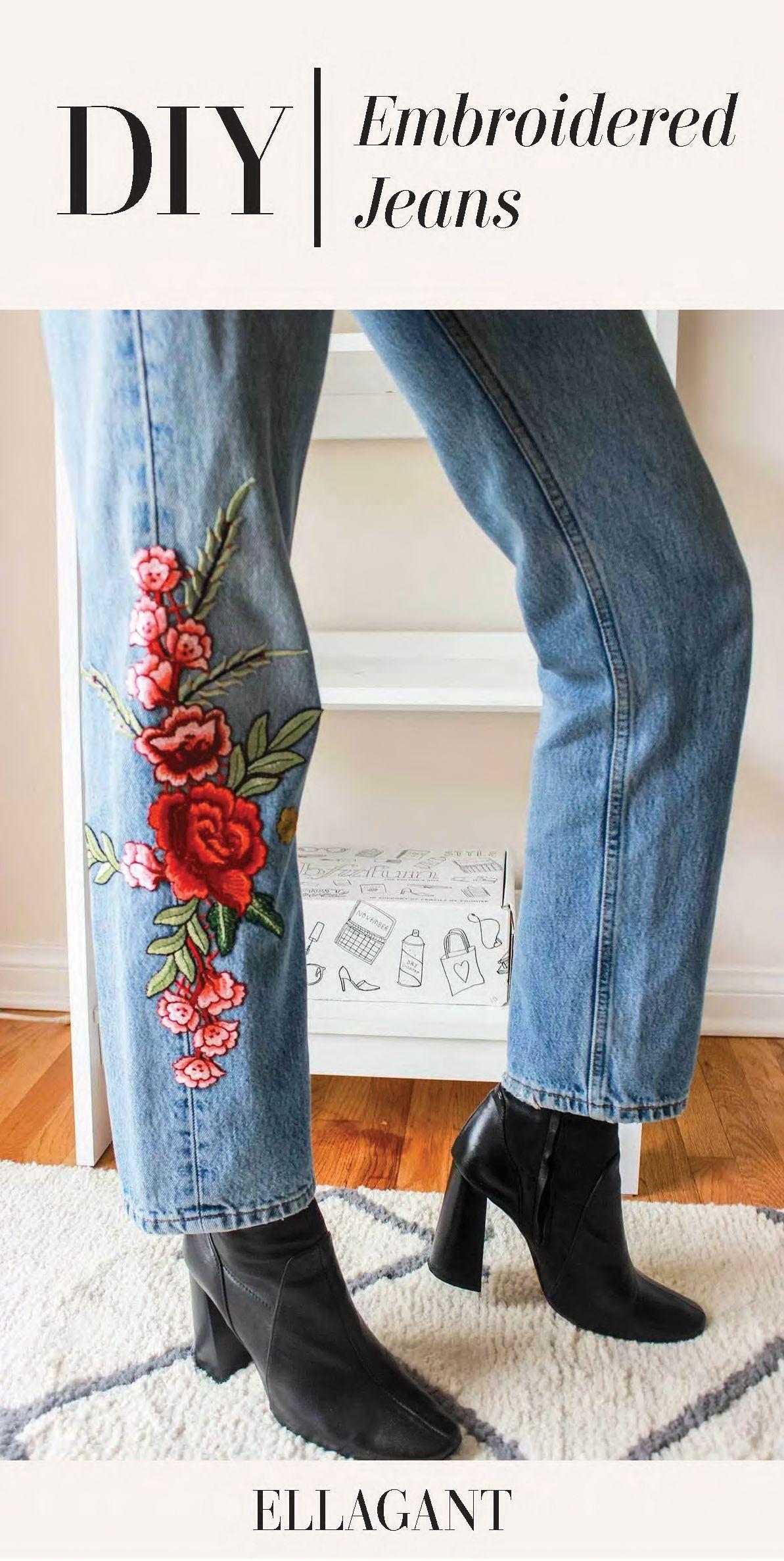Diy embroidered denim ellagant embroidered jeans diy