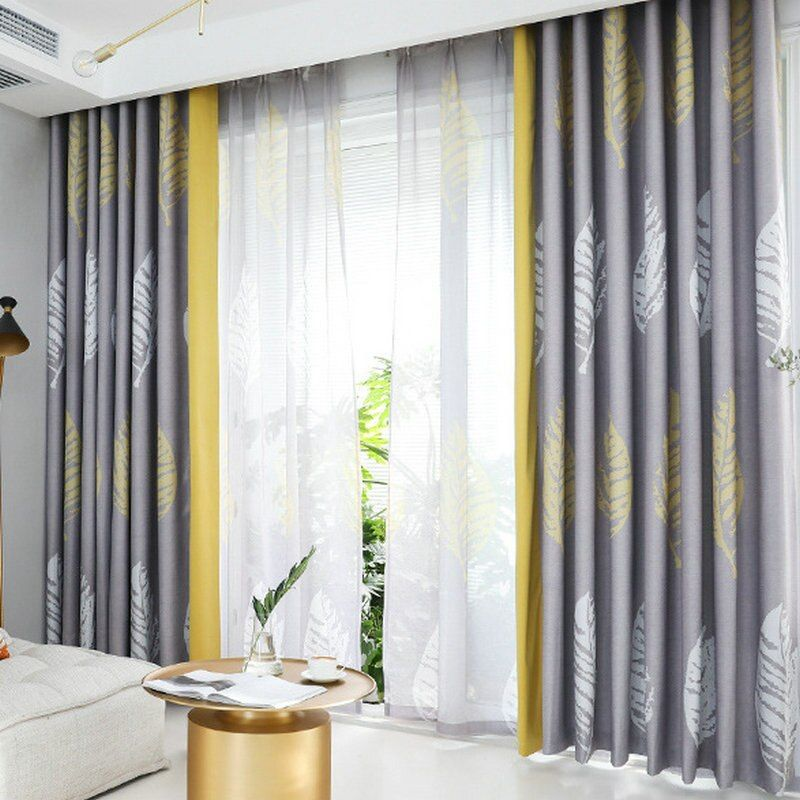 Nordic Curtains For Living Room And Bedroom Big Leaves Blue Yellow Grey Shades Patchwork Curtain Window Treatement Drape Shades Curtains Aliexpress In 2020 Curtains Living Room Curtains Living Room Modern Big #yellow #and #gray #curtains #for #living #room
