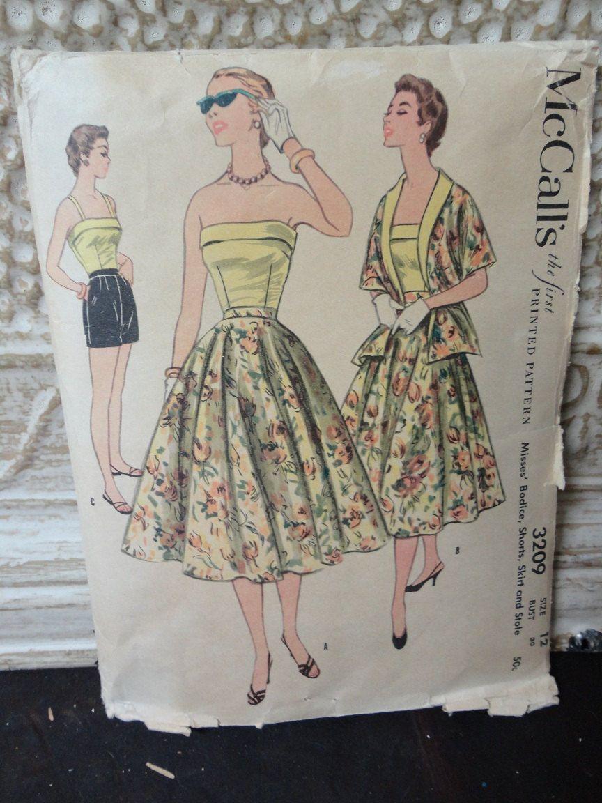 McCalls 50\'s Vintage Strapless Top, short, skirt pattern RARE ...