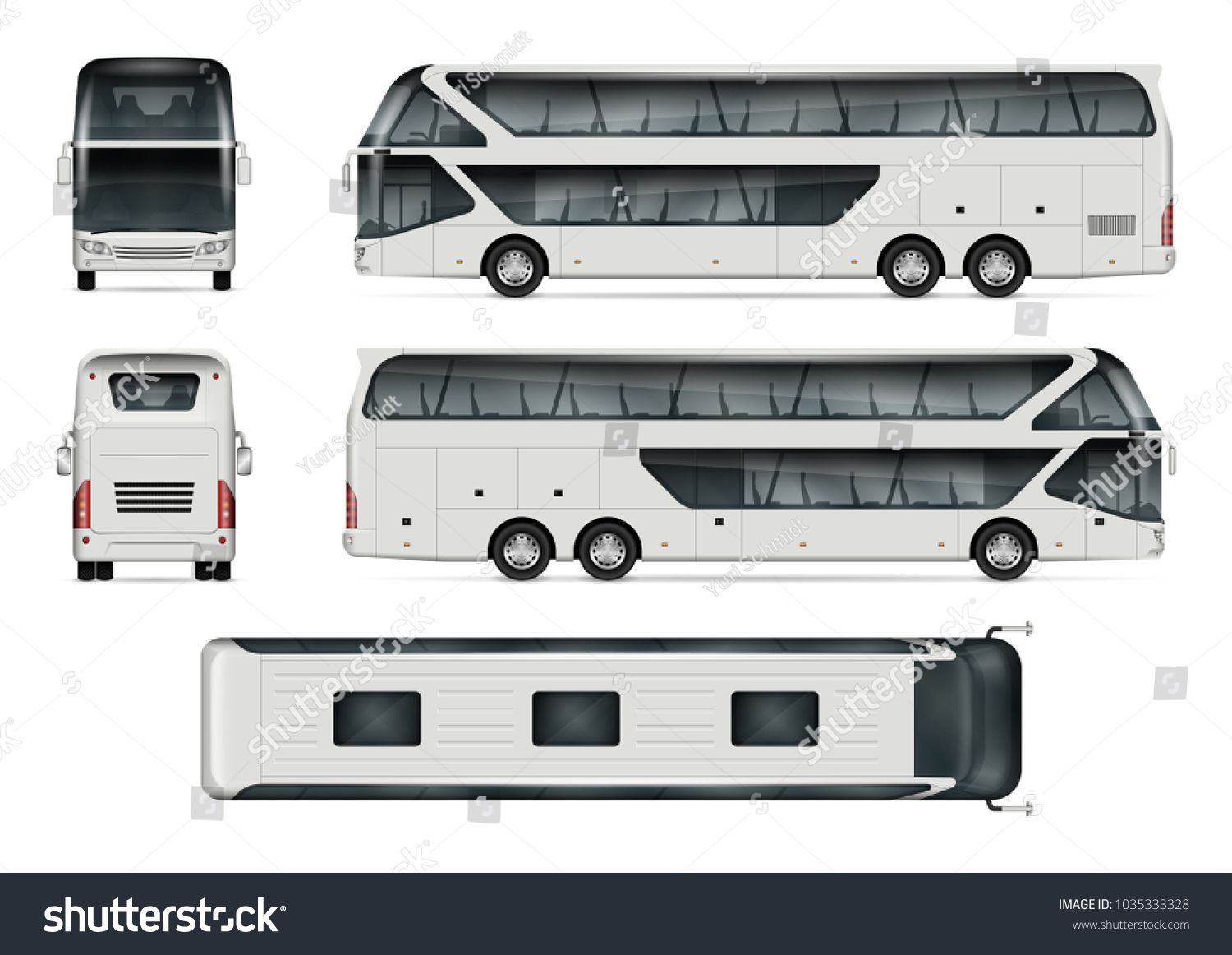 Bus Vector Mock Up Isolated Template Of Tour Coach On White Background Vehicle Branding Mockup Side Front Back Top View Al Bus Art Logo Branding Mockups