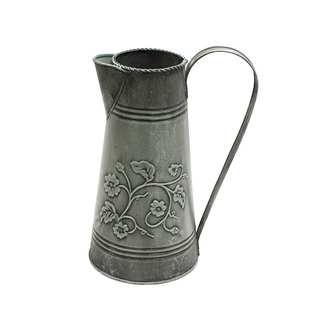 Ratings Reviews Be The First To Review This Item Product Details Misixile 10 6 Shabby Chic Metal Flower Vase Vintage Large Farmhouse Pitcher In 2020 Vase Arrangements Shabby Chic Metal Flowers