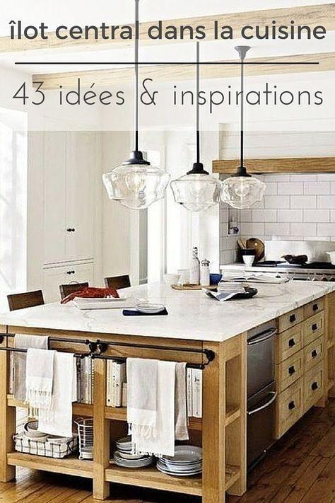 Cuisine avec îlot central  43 idées \ inspirations Tiny houses - cuisine avec ilot central et table