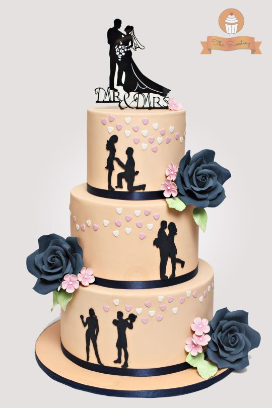 silhouette wedding cakes ideas silhouette wedding cake in and navy blue bottom 19823