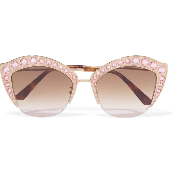 a5fba024934 Gucci Crystal-embellished cat-eye gold-tone sunglasses (€1.015 ...