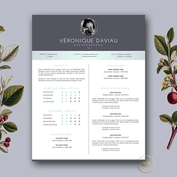 Resume Template and FREE Cover Letter 3 Page Modern CV Template - free cover page templates for word