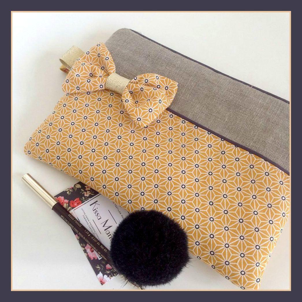 pochette n ud romantique multi usages lin et tissu graphique japonais jaune moutarde sunshine. Black Bedroom Furniture Sets. Home Design Ideas