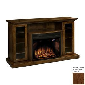 64-in W 4770-BTU Elm with Cherry Wood Electric Fireplace with Thermostat and Remote Control