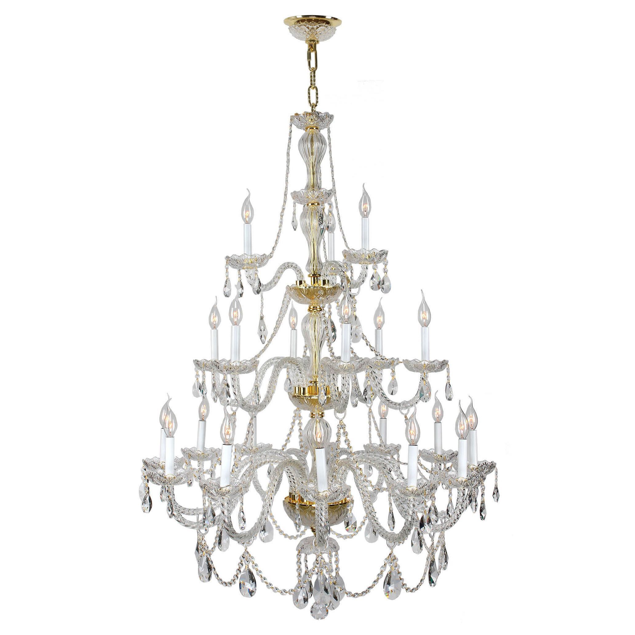 Brilliance Lighting And Chandeliers Venetian Italian Style 21 Light Gold Finish Crystal Candle Chandelier Three 3 Tier 8os099g38 Clear Aluminum