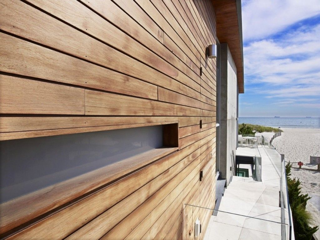 The sea project beach house exterior with bbs panels and for Wooden house exterior design