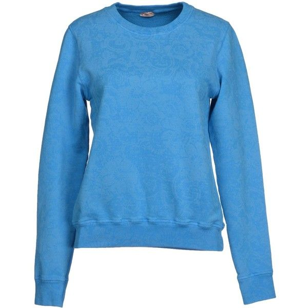 Truenyc. Sweatshirt ($40) ❤ liked on Polyvore featuring tops, hoodies, sweatshirts, azure, pocket sweatshirt, blue long sleeve top, blue sweatshirt, blue top and long sleeve sweatshirt