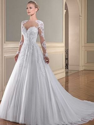 Vestido de noiva renda francesa manga longa