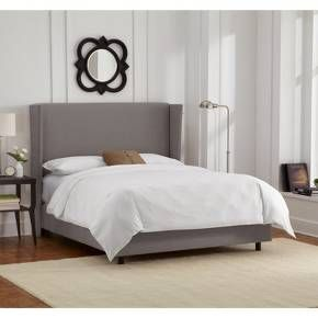 Tapered Linen Nail Button Wingback Bed - Skyline Furniture : Target