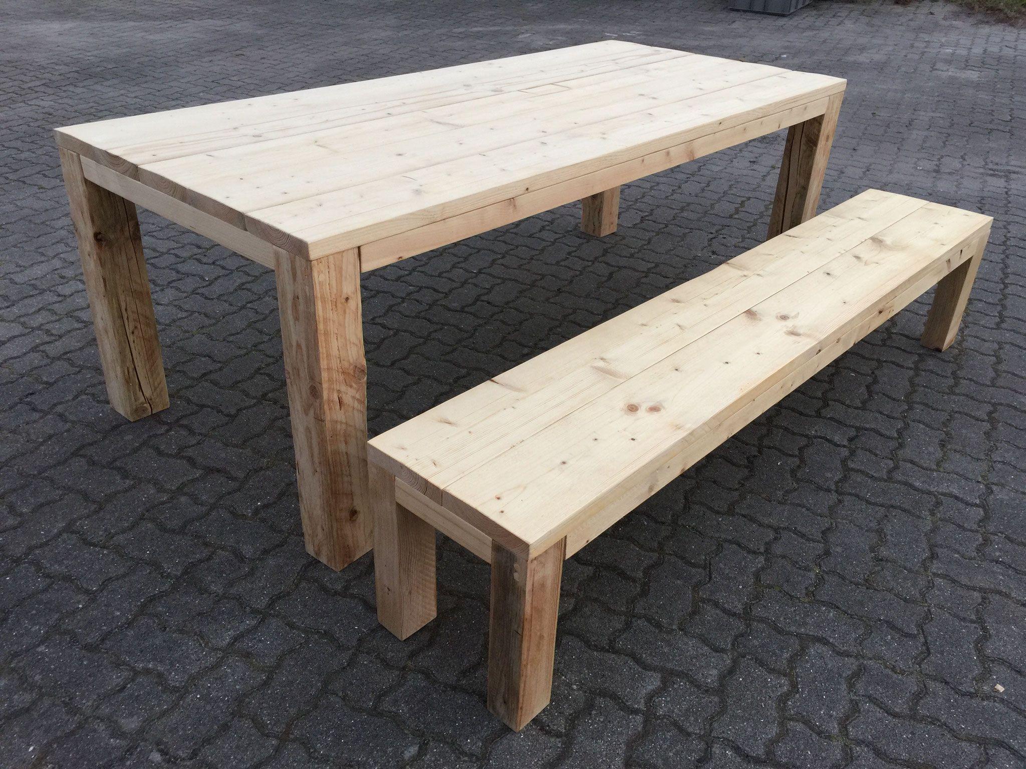 Gartentisch Mit Bank Aus Bauholzdielen Mit 12cm Vollholzbeinen Unbehandelt Gartentisch Tischbank Bauholz Mobel