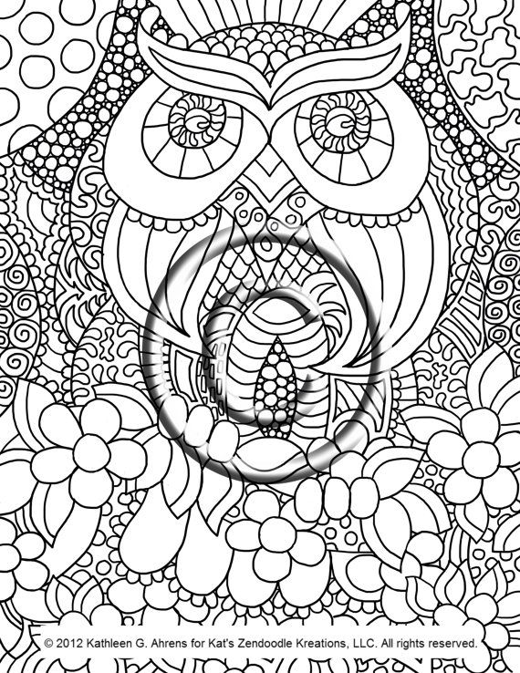 Owl Love ... a perfect title for this adorable zendoodle! Youre ...