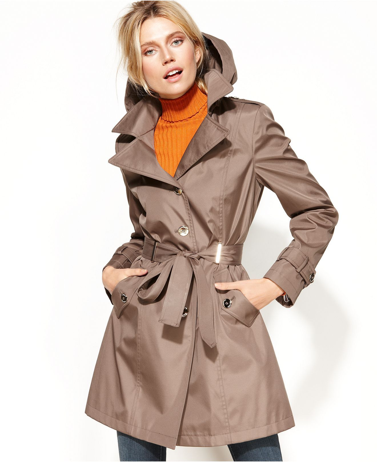 Calvin Klein Coat, Hooded Belted Trench - Coats - Women - Macy's ...
