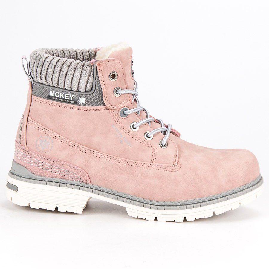 Mckey Rozowe Traperki Damskie Boots Combat Boots Shoes