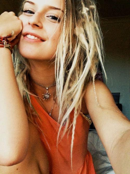 girls Beautiful blonde hippie