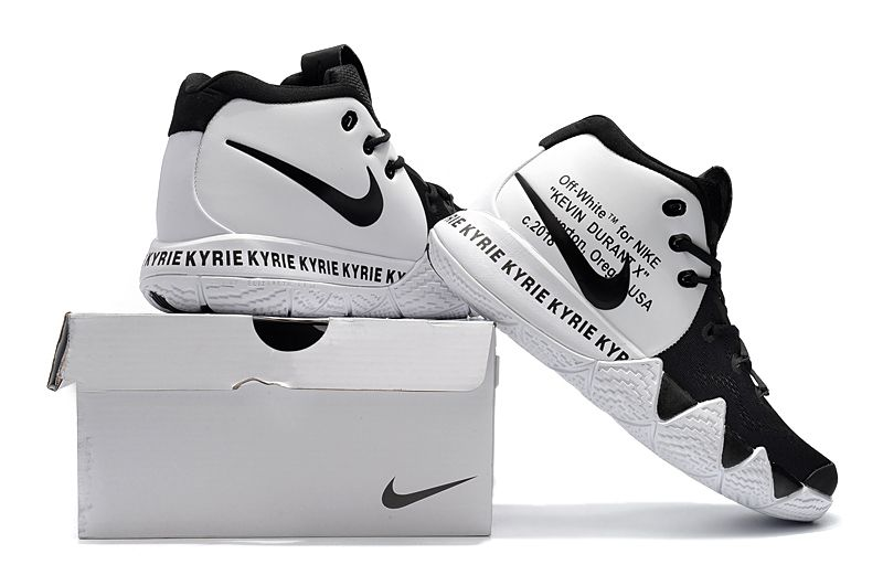 bec0e41d077a 2018 Off-White x Nike Kyrie 4 Black White For Sale