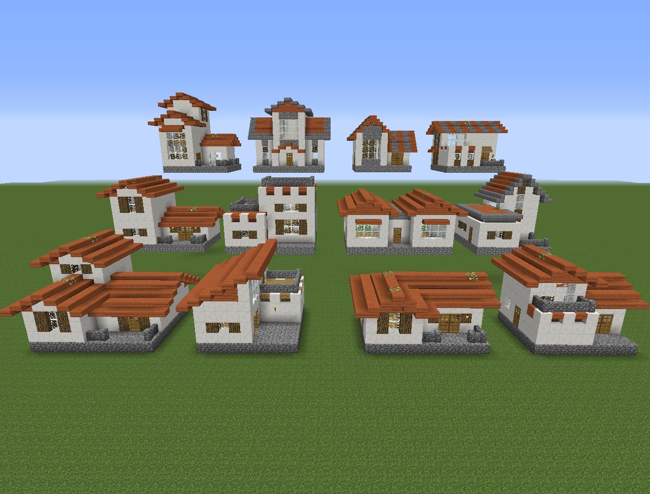 Npc village buildings by coltcoyote on deviantart apps directories - 12 House Designs X 2 Building Styles 24 Unique Houses