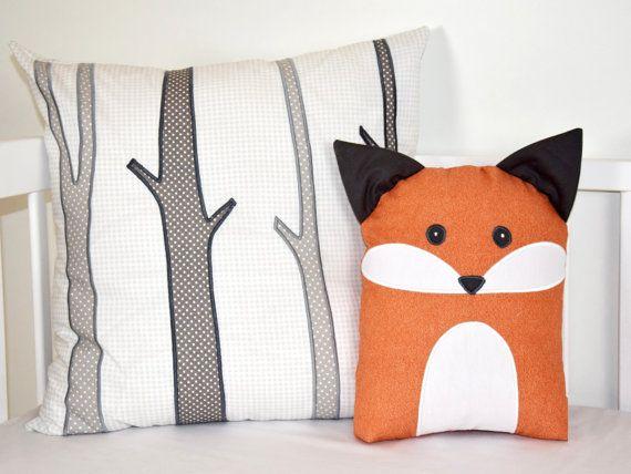 Birch Trees Pillow Cover And Fox Pillow Fuchs Kissen Quilt Baby