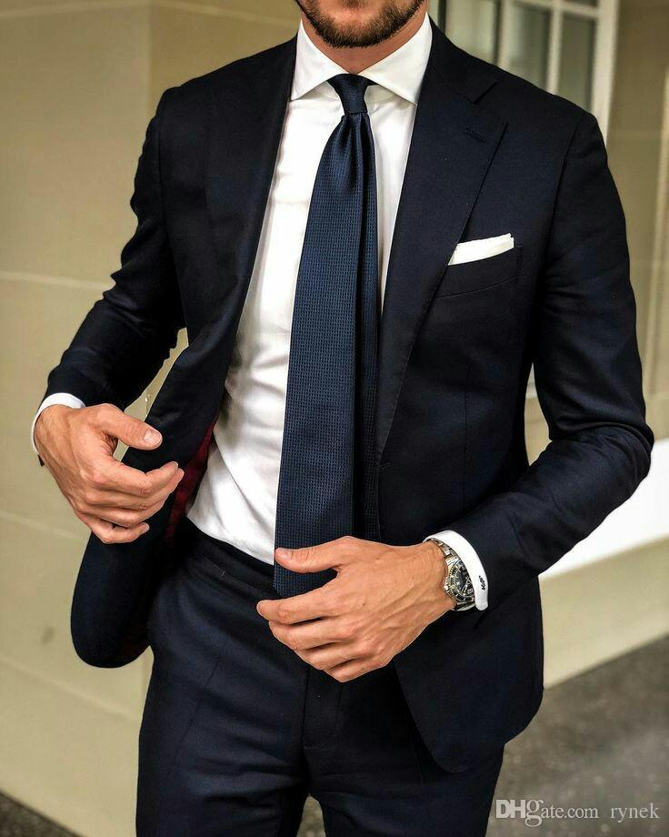 Dark Blue Men Suits Groom Wedding Tuxedos Notched Lapel Formal Business Office Suits Man Blazer Jacket 2Piece Costume Bridegroom Jacket