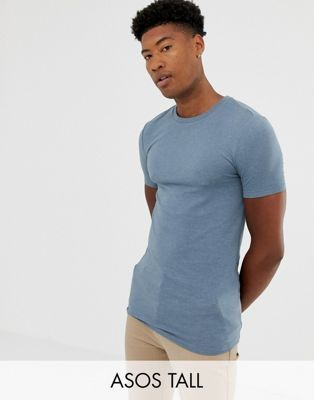 7fb5e726768 ASOS DESIGN Tall organic muscle fit crew neck t-shirt with stretch in blue