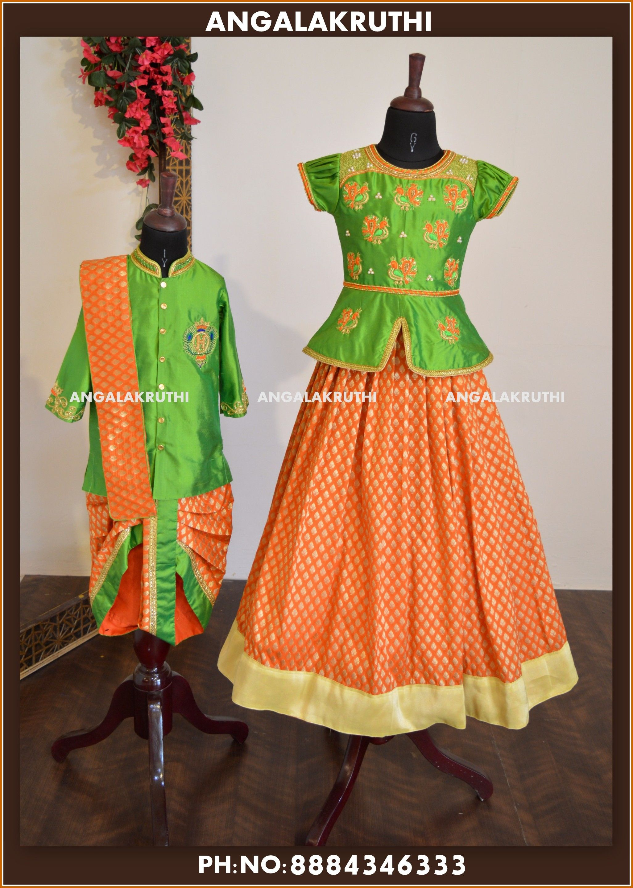 ab784bfb94 brother and sister matching dress designs by Angalakruthi boutique in  bangalore pure silk designs for kids pattu pavada