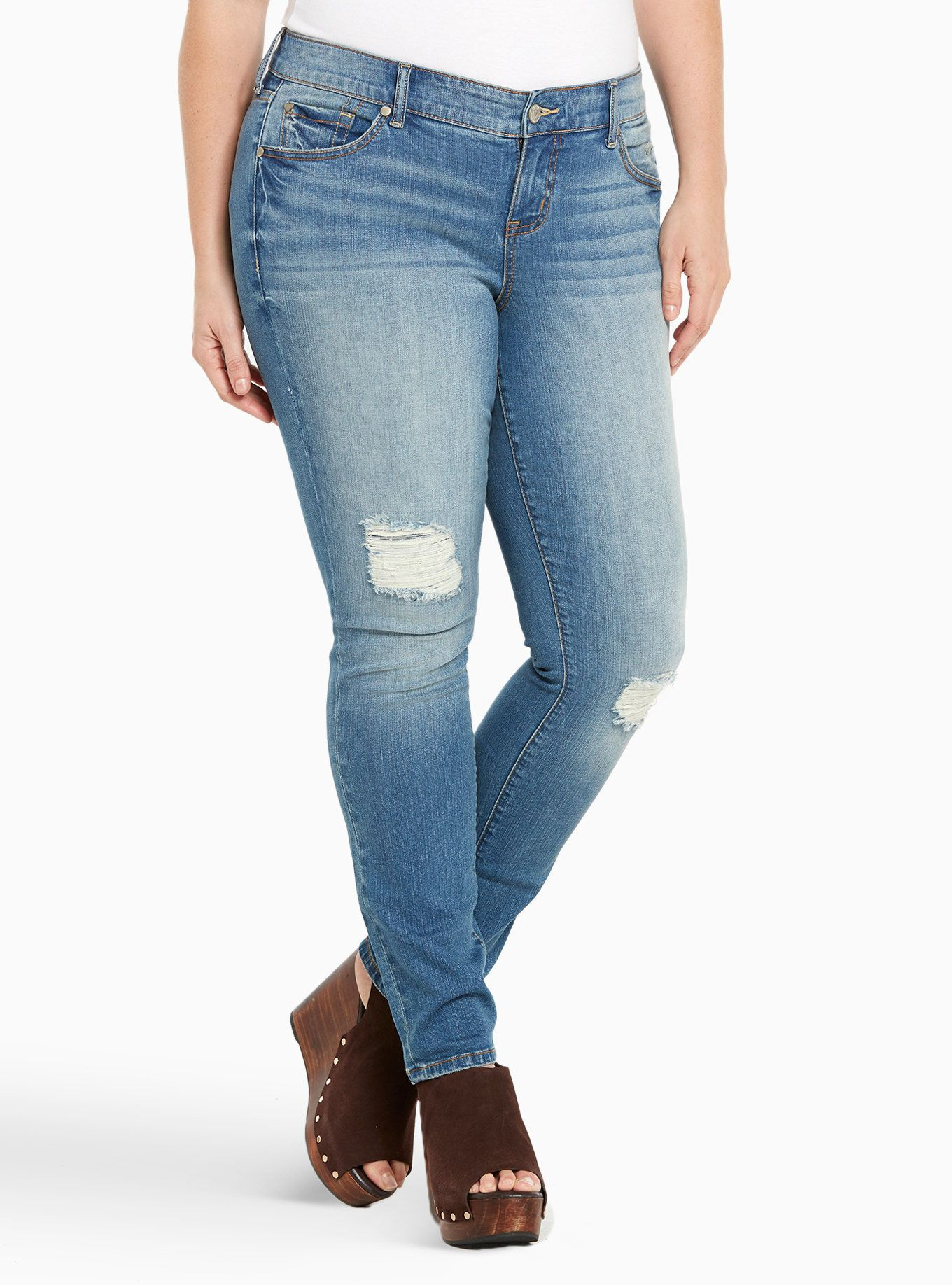 bc84dfa968d35 Torrid Skinny Jeans - Light Wash with Ripped Destruction