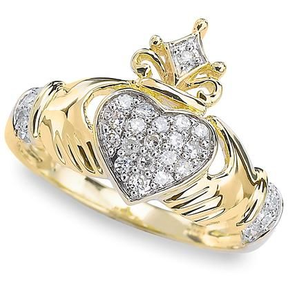 Fashion Rings For Women 5ctw Two Tone Diamond Claddagh Ring Jewelry