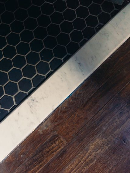 Unique Black Hex tile Marble threshold- to wood floor -- Powder to  MB68
