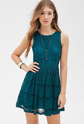 Lace Fit Flare Dress Forever21 2000099688