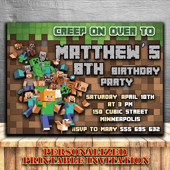 minecraft birthday invitation minecraft invitations minecraft