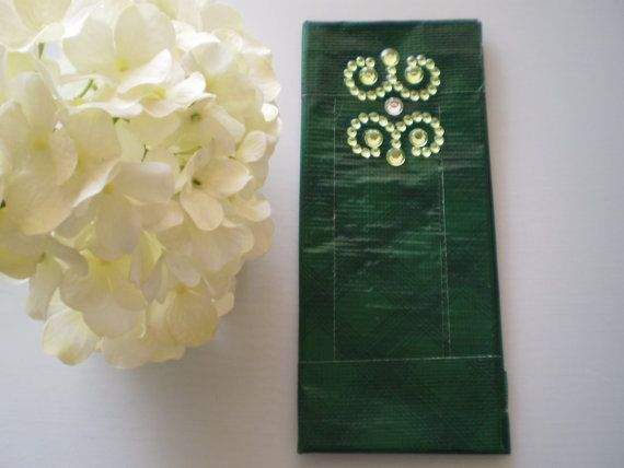 Green Plaid Duct Tape Wallet by elegantduck on Etsy, $16.00