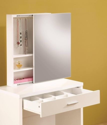 Contemporary White Vanity Table and Stool with Hidden Storage by Coaster 300290